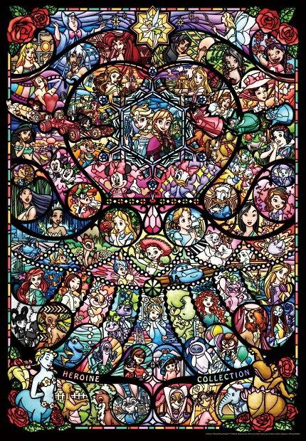 ディズニー オールキャラクター 1000ピース ジグソーパズル ディズニー&ディズニー ピクサー ヒロインコレクション ステンドグラス【ピュアホワイト】(51x73.5cm)(DP-1000-028)[テンヨー] t105
