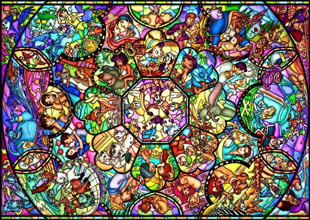 ディズニー オールキャラクター 4000ピース ジグソーパズル ディズニー オールスターステンドグラス(102x146cm) (D-4000-564)[テンヨー] t102