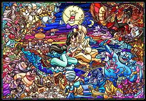 【在庫あり】ジグソーパズル 1000ピース ディズニー アラジン ストーリー ステンドグラス ピュアホワイト (51x73.5cm) (DP-1000-029) テンヨー 梱80cm t100
