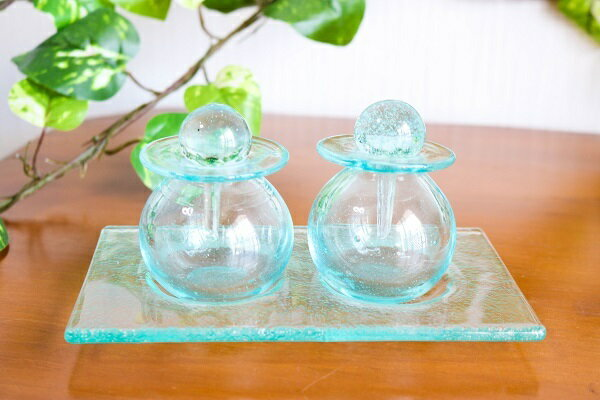 ガラス アロマオイル ボトル ガラストレー付(中・丸型)アジアン バリ 雑貨