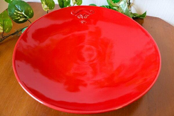 ラウンド プレート 大皿 赤 【JENGGALA KERAMIK】 ジェンガラケラミック 食器 皿 アジアン バリ