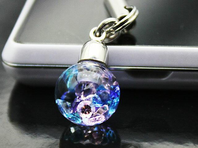 Bijou glass スマホorイヤホンジャック ブルー・パープル・ピンク・アイスブルーカラー