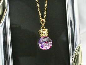 Bijou glass ball Gold Crown S Pendant パープルレッドカラー