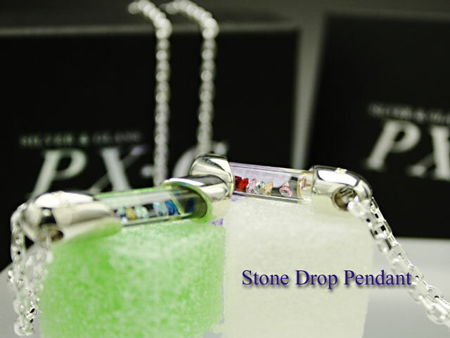 PX-G Silver Stone Drop Pendant シルバーガラスアクセサリー ストーンドロップペンダント