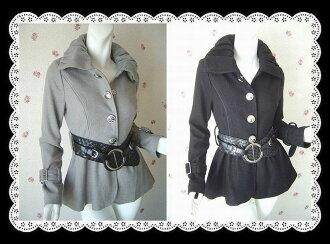 Elegant eyes thick braided belt with beautiful silhouette wool 混ji shank gasket ★