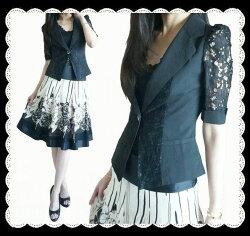 ★2点セット★シルエット綺麗なレース袖ジャケット&大花シフォンスカートセット
