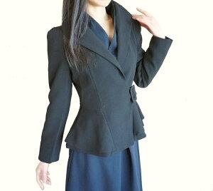 ジャケットアウターレディースエレガントリッチな立て襟とても素敵な上質コートウエストベルト洗練されたデザインミディアムショートコート大きな襟で小顔効果シルエット綺麗細く見える着痩せ効果黒通勤お出掛け