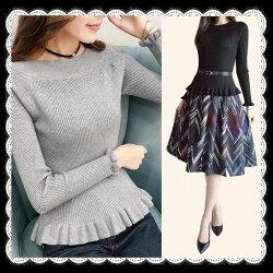 デコルテラインを綺麗に見せるフリルニット体のラインが綺麗に見せるニット長袖ニットパンツスタイルもスカートも合わせ万能シンプルフェミニンレディースニットグレー黒白