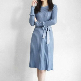 Good-quality knit dress pleats knee-length knit dress knee length thick long sleeves knit dress knit dress waist ribbon knit dress knit pleats invite knit dress long sleeves frill sleeve pearl Bodin refined きれいめ Shin pull stretch in the fall and winter i