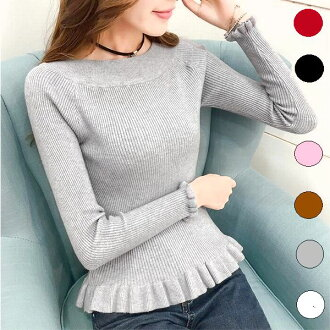 Put both the underwear-style and the skirts together in the knit long sleeves knit knit long sleeves knit fall and winter when the line of the frill knit body showing decollete line neatly shows it neatly, and almighty Shin pull feminine Lady's gray blac