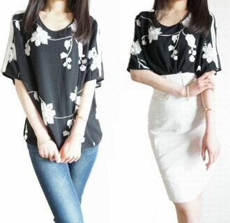 Both the tops lady's embroidery flower clean chiffon flower translucency black short sleeves tunic floral design skirt in the spring and summer and the underwear are adult かわいいしわになりにくいゆるゆったり half-length sleeves blouse fashion for 40 generations for 30 ge