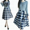 Neat and clean refined medium lady's dress long sleeves knit long sleeves dress fall and winter dress with the knit change blue checked pattern dress knit dress long dress mi-mollet length mi-mollet dress knit dress scarf with the check stall