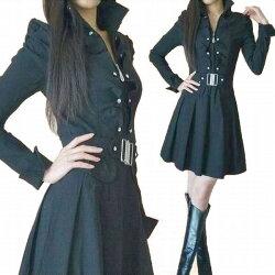 ★シルエットが綺麗なフリル襟が素敵なプリーツワンピース