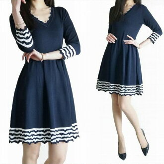 With the knit dress navy knit dress three-quarter sleeves V neck dark blue dress knit adult refined neat and clean good-quality knit きれいめ elasticity it is hard to be for a cloth knit dress medium damascene solid knitting wrinkle well