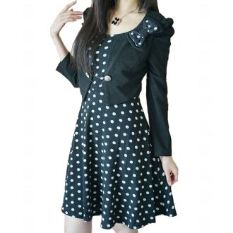 This one at the kimal! Dating in the Office to dinner ♪ is classy and elegant Bolero-style design nice polka dot knee-length one piece ceremony graduation graduation ceremony entrance ceremony presentation parties formal one piece fall suit MOM women's l