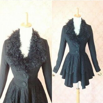 The rial fur silhouette wool coat fur fur coat wool coat wool warm warm cold protection outer lady's race outing coat Lady's coat medium black that a race is beautiful