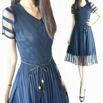 The size that the size that dress Lady's dress knee length knee lower dress mi-mollet length dress party dress four circle wedding ceremony second party dinner party invite adult sexy translucency mesh is small in see-through pleats dress short sleeves d