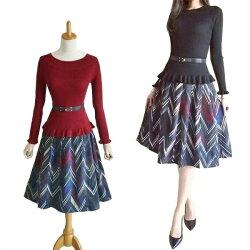 ★2点セット★フリルニット&コーデュロイプリントスカート体のラインが綺麗に見せるニット長袖ニットフレアスカートふんわりスカート膝丈スカートひざ丈スカート大人上品スタイルレディース