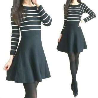 Design style look! nice silhouette knit dress! A line nittowanpi! Tunicwampi long-sleeved knit leggings and friendly staff square neck BPD