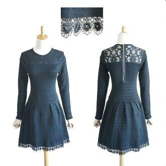 [knit flare dress ♪ knit dress that a race is beautiful! Long sleeves knit dress cute date border line black gray knit dress in twenties in 30s