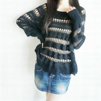 Key knitting knit spring knit dolman knit lady's sweater black translucency dolman sleeve knit tunic in the spring and summer