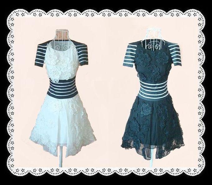 【ラスト1点】【シルク】華やかな全面浮き刺繍フラワーが綺麗なシルクワンピース(ドレス・パーティードレス・ボーダーライン・花・フラワー・刺しゅう・ビーズ・黒・SILK・絹・パーティードレス・白)