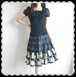 ★2点セット★女性らしい美しいスタイル♪後姿も美人な背面Vカットニット&幾何学モダン柄プリントスカート