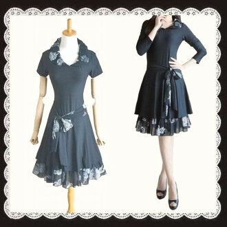 Popular West big Ribbon is a lovely flower pattern different material combinations fashionable dress black