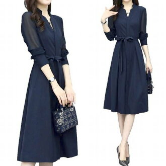 Knee-length translucency elegant female office worker commuting office Shin pull plain fabric dark blue long sleeves 20s 30s 40 generations adult of superior grade girls-only gathering medium A-line flare in spring refined re-arrival dress Lady's navy ch