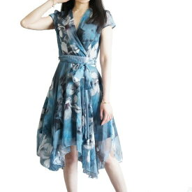 [ [S〜M] ワンピース 半袖 夏 花柄 レディース グラデーション 半そで イレギュラー シフォン きれいめ ブルー グリー 緑 かわいい ドレス フラワー 花 軽やか 女性らしい 美しい