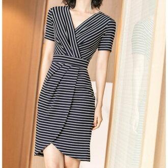 Tight dress lap dress Cache-coeur dress short-sleeved horizontal stripe youthful tight Slender looking thinner knee length medium Lady's