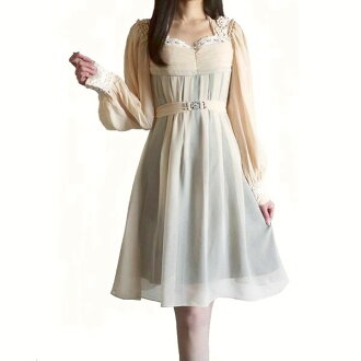The dress spring dress dress party dress four circle party dress one-piece dress long sleeves party dress long sleeves that a key knitting design is very wonderful