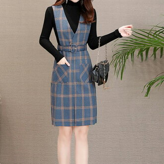 Two points of set knit tops & checked pattern dress set setup knit jumper blue check tight dress dress is tight