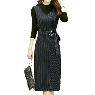 It is an office female office worker invite in waist ribbon fall and winter for 40 generations for No3b tripe tight dress slit tight dress stripe-style on the small side effect stretch material dress 30 generations to make you look good with the setup go