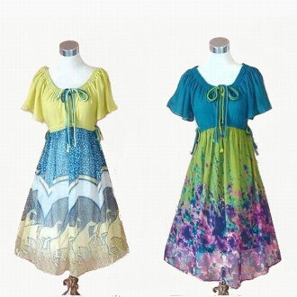 The figure cover that a dress floral design dress chiffon dress is cool softly in the floral design dress short sleeves dress summer when a skirt is pretty which has a cute papillon sleeve in one point of last