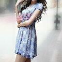 【ラスト1点】綺麗な色合い ワンピース 半袖 きれいめ 花柄 グラデーション バイオレット パープル 優雅 フラワー ワンピース 半袖 小花 パープルブルー ミディアム ワンピース 夏 きれいな色 さ