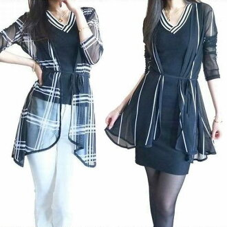 Stylish mesh long Cardigan wrinkle too casual and like a woman wears, roll into small balls, travel and business trip carrying convenience check stripes ringtones turn universal elegant black long length sheer watermark feeling air conditioning anti cool
