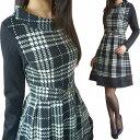 [ 女性らしいボートネック清楚なチェック柄ワンピースシースルー裾が女度アップ!S・M・L・XL