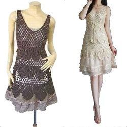 美人オーラ!大人の女性がに合う綺麗なかぎ編みニットワンピース兼ドレス(レースフリルスリップつき)