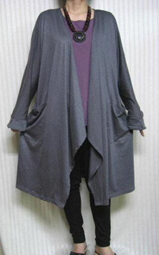 【送料無料】お気軽的個性派カーディガンゆらり羽織って♪グレー 大きいサイズ個性派 シニア ミセス レディースファッション