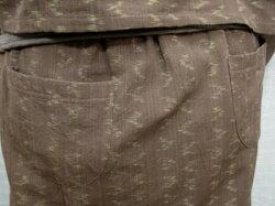 絣ボレロ風ブラウスとセミタイトの絣スカート茶系