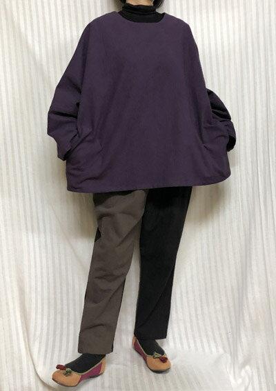 【大きいサイズ/日本製/手作り/送料無料】パープルブラウス 輝くあなたに1着限定 綿100% ゆったりサイズ40代.50代.60代.70代/個性派 シニア ミセス レディースファッション