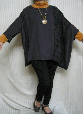 デラックスフリー「アンポンT」古風なチョコ茶 綿 左ポンチョ大きいサイズ個性派シニア・レディースファッション