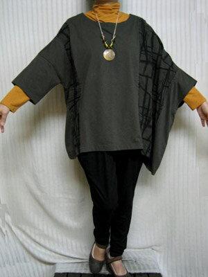 デラックスフリー「アンポンT」自然なカーキ 綿左ポンチョ大きいサイズ 個性派シニア・レディースファッション