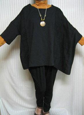 デラックスフリー「アンポンT」高貴なブラック 綿 左ポンチョ大きいサイズ 個性派シニア・レディースファッション