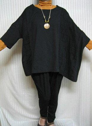 デラックスフリー「アンポンT」高貴なブラック 綿 左ポンチョ4L/5L/6L/大きいサイズ個性派 シニア ミセス レディースファッション