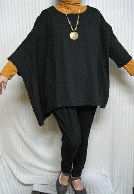 スパーフリー「アンポンT」クラッシク☆ブラック右ポンチョ 大きいサイズ 個性派シニア・レディースファッション