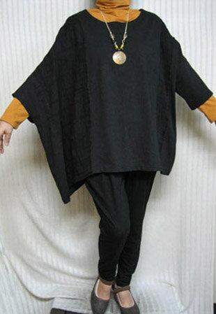 スパーフリー「アンポンT」クラッシク☆ブラック右ポンチョ 大きいサイズ 4L/5L/6L/7L個性派シニア ミセス レディースファッション