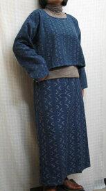 【送料無料】絣ボレロ風ブラウスセミタイト絣スカート 紺系 ツーピース 綿100% 40代.50代.60代.70代 個性派 シニア ミセス レディースファッション