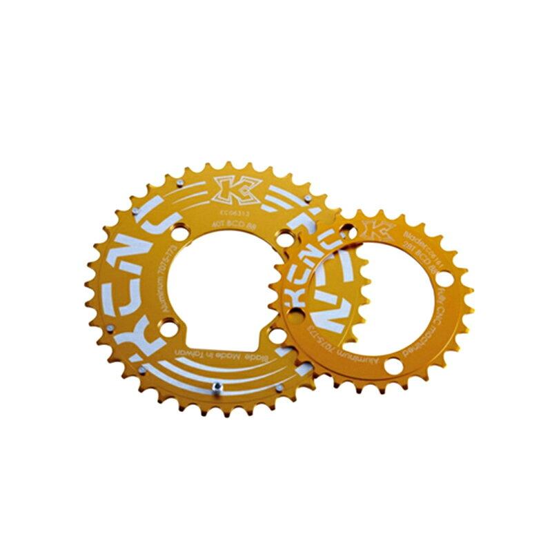 KCNC (ケーシーエヌシー) K2-KTYPE (K2 Kタイプ) MTBダブルセット:40T/88 ゴールド[クランク・チェーンホイール][マウンテンバイク用]